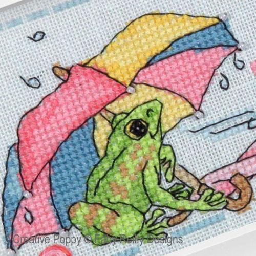 Parapluies et bottes, grille de broderie, création Faby Reilly