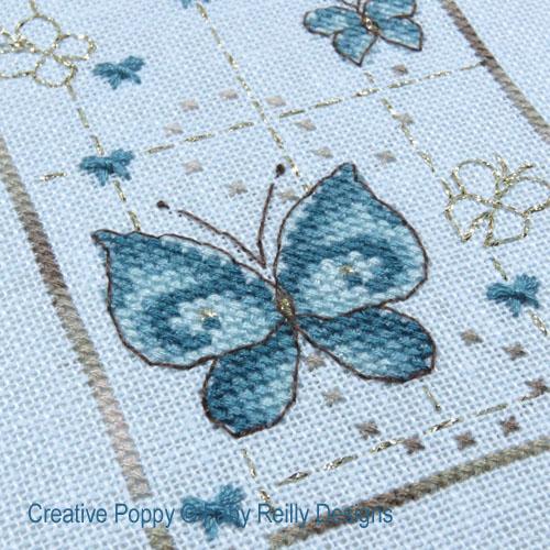 Sur le sentier des papillons, grille de broderie, création Faby Reilly
