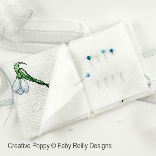 Livret à aiguilles perce-neige, grille de broderie, création Faby Reilly