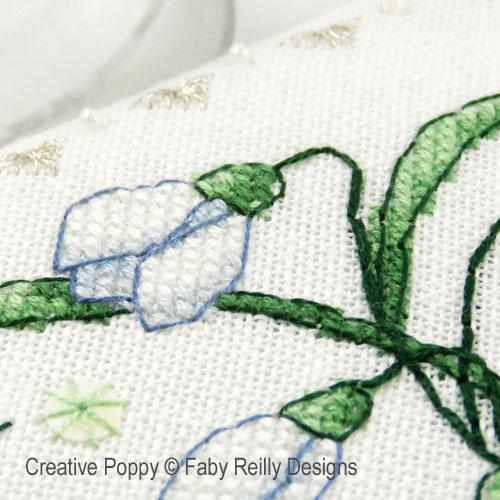 Etui à ciseaux perce-neige, grille de broderie, création Faby Reilly