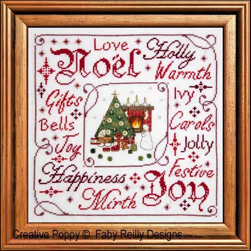 Tableau Noël victorien, grille de broderie, création Faby Reilly