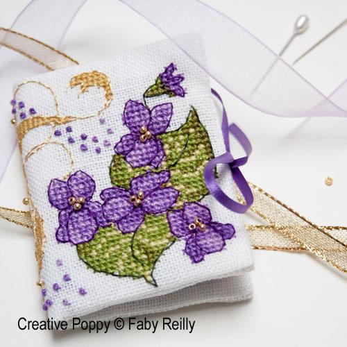 Livret à aiguilles Violette, grille de broderie, création Faby Reilly
