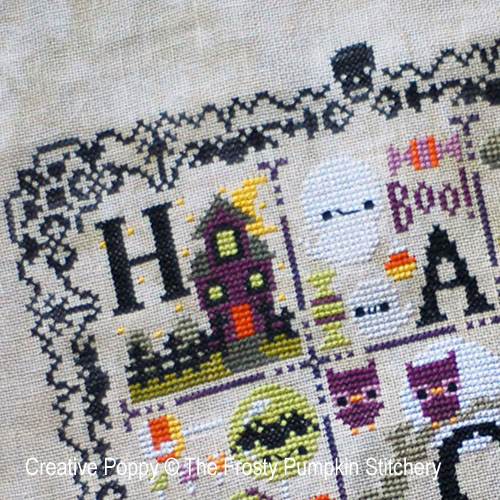 Halloween Chair de poule, grille de broderie, création The frosted Pumpkin Stitchery