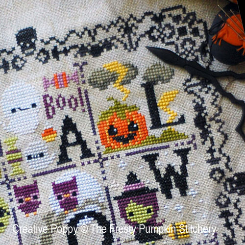 Halloween Chair de poule broderie point de croix, création The frosted Pumpkin Stitchery, zoom2