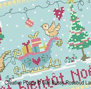 Le petit chein pressé, broderie point de croix, création Gail Bussi, Rosebud Lane Designs