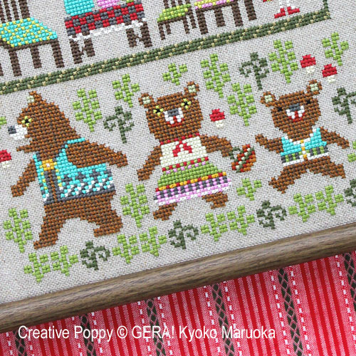 Les trois ours, grille de broderie, création GERA! Kyoko Maruoka