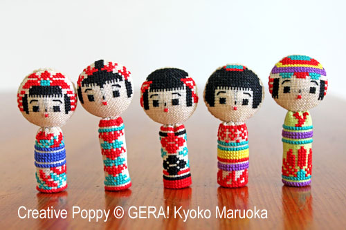 5 poupées kokeshi, grille de broderie, création Kyoko Maruoka GERA!