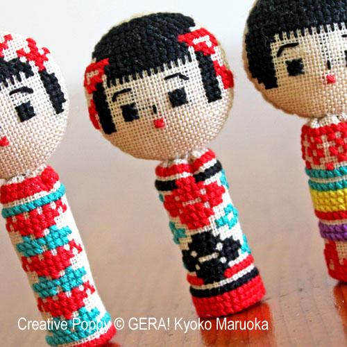 Gera! Kyoko Maruoka - 5 poupées kokeshi, zoom 1 (grille de broderie point de croix)