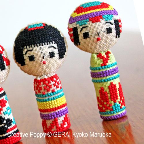 5 poupées kokeshi broderie point de croix, création Kyoko Maruoka GERA!, zoom3