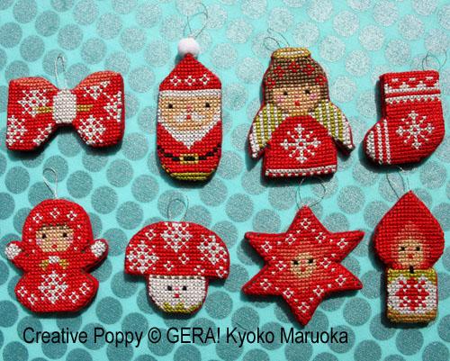 Mini ornements de Noël, grille de broderie, création GERA! Kyoko Maruoka