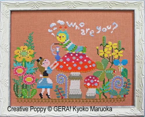 Alice rencontre la chenille, grille de broderie, création Kyoko Maruoka GERA!