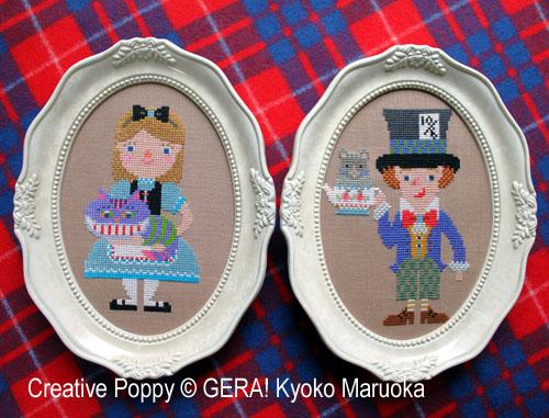 Gera! Kyoko Maruoka - Alice au pays des merveilles - 2 portraits (grille de broderie point de croix)