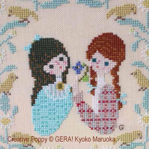 Anne et Diana (l'amitié), grille de broderie, création GERA! Kyoko Maruoka