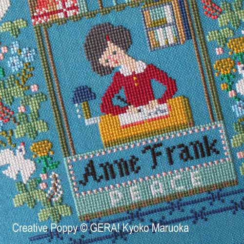 Hommage à Anne Frank, grille de broderie, création GERA! Kyoko Maruoka