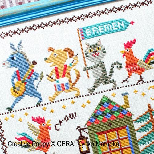 Gera! Kyoko Maruoka - Les musiciens de Brême, zoom 1 (grille de broderie point de croix)