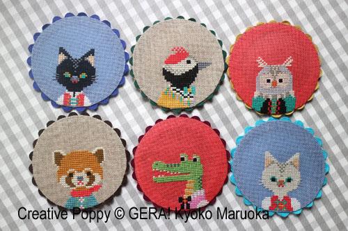 Sous verres aux animaux, grille de broderie, création GERA! Kyoko Maruoka