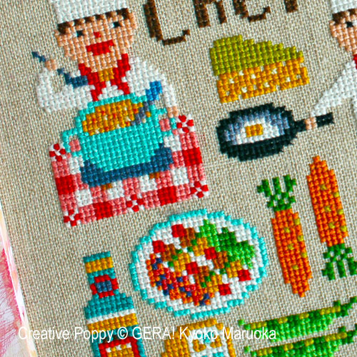 Le Chef, grille de broderie, création GERA! Kyoko Maruoka