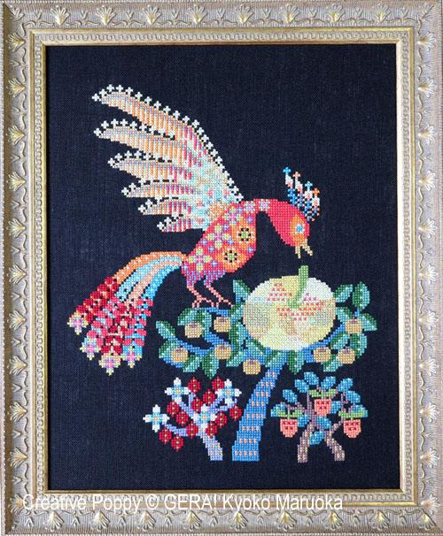 L'oiseau de feu, grille de broderie, création GERA! Kyoko Maruoka