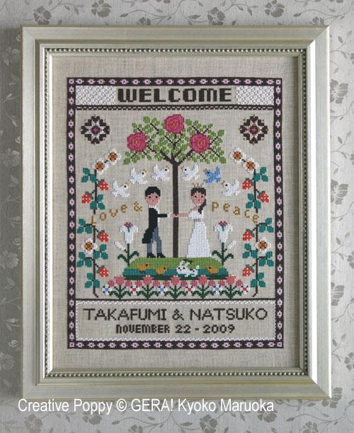 Heureux mariage, grille de broderie, création GERA! Kyoko Maruoka