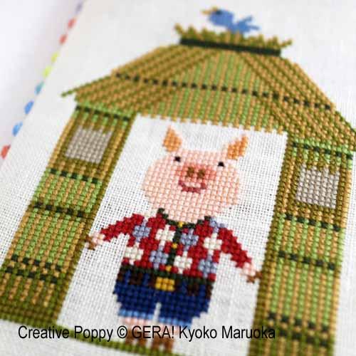 Les trois petits cochons, grille de broderie,GERA! Kyoko Maruoka