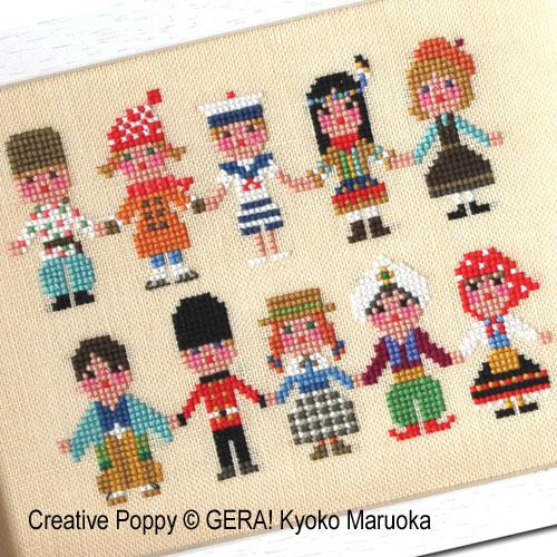 Enfants de tous pays II, grille de broderie, création Kyoko Maruoka GERA!