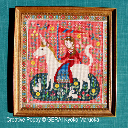 La dame à la licorne, grille de broderie, création GERA! Kyoko Maruoka