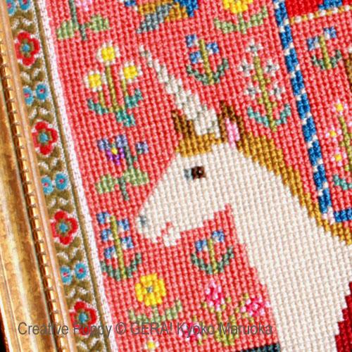 La dame à la licorne broderie point de croix, création GERA! Kyoko Maruoka, zoom2
