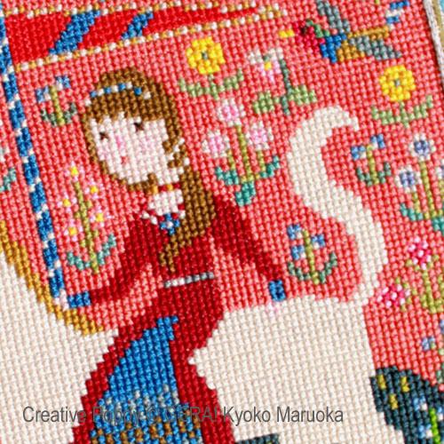 La dame à la licorne broderie point de croix, création GERA! Kyoko Maruoka, zoom3