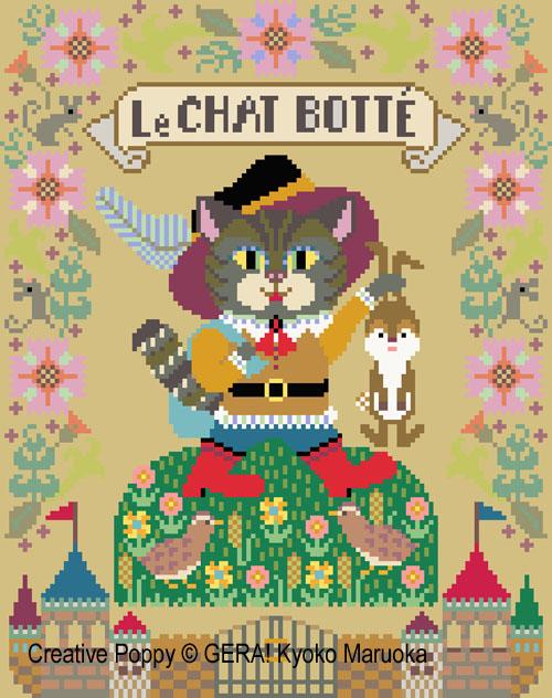 Le chat Botté, grille de broderie, création GERA! Kyoko Maruoka