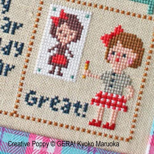 Petite Clara broderie point de croix, création GERA! Kyoko Maruoka, zoom3