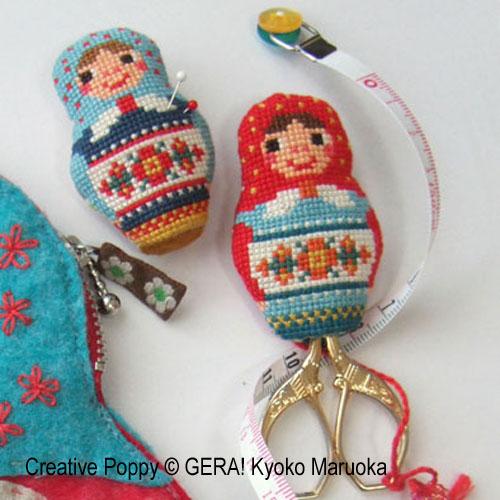 Matryoshka - Trio d'accessoires de broderie broderie point de croix, création GERA! Kyoko Maruoka, zoom1