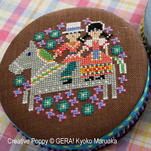 Motifs pour boites rondes - 2, grille de broderie, création GERA! Kyoko Maruoka