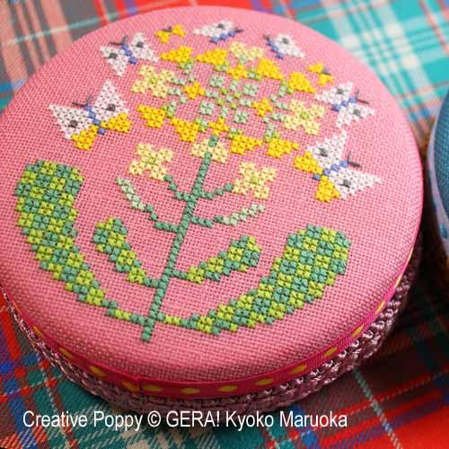 Motifs pour boites rondes (fleurs papillon), grille de broderie, création GERA! Kyoko Maruoka