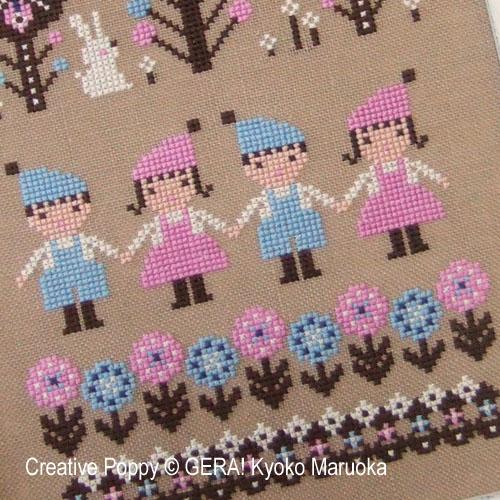 Notre petit monde, grille de broderie, création GERA! Kyoko Maruoka
