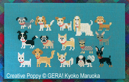 15 petits chiens - série 2, grille de broderie, création GERA! Kyoko Maruoka