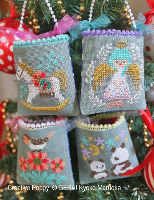 Petits sachets-décorations de Noël, grille de broderie, création GERA! Kyoko Maruoka