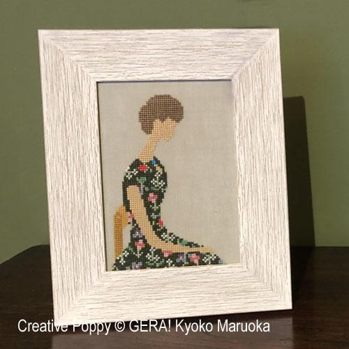 portrait de femme - N°1, grille de broderie, création GERA! Kyoko Maruoka