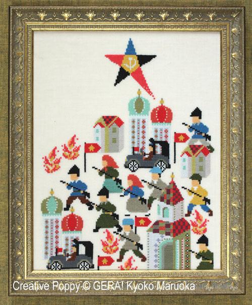 La révolution russe (1917), grille de broderie, création GERA! Kyoko Maruoka