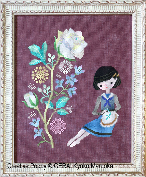 Brodeuse aux Roses, grille de broderie, création GERA! Kyoko Maruoka