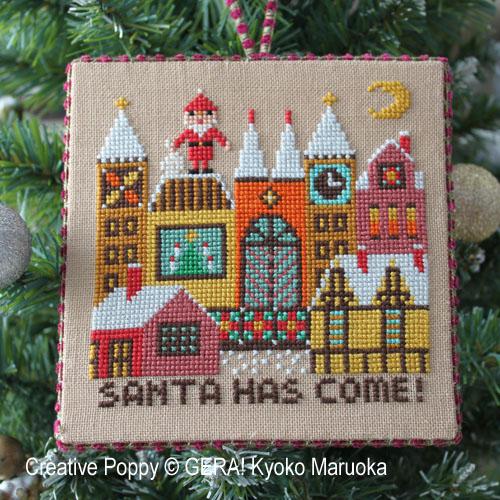 Le Père Noël arrive II, grille de broderie, création GERA! Kyoko Maruoka