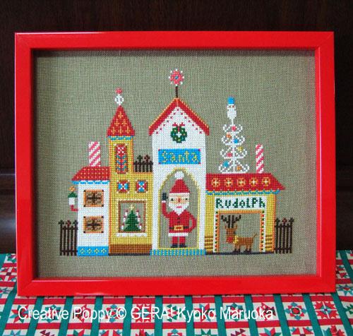 La maison du Père Noël, grille de broderie, création GERA! créations Kyoko Maruoka