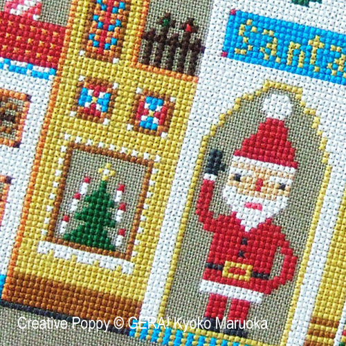 Gera! by Kyoko Maruoka - Santa's House zoom 1 (cross stitch chart)