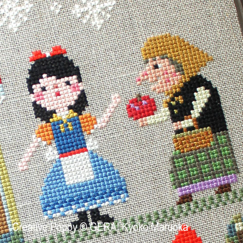 Blanche-Neige, grille de broderie, création GERA! Kyoko Maruoka