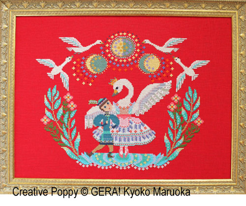Le lac des cygnes, grille de broderie, création Kyoko Maruoka GERA!