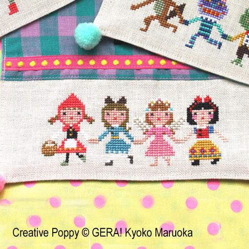 En rang par quatre, grille de broderie, création Kyoko Maruoka GERA!