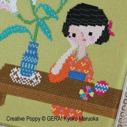 Les parfum des lys, grille de broderie, création GERA! Kyoko Maruoka
