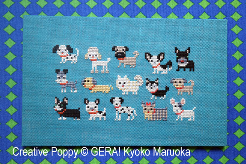 15 petits chiens, grille de broderie, création GERA! Kyoko Maruoka