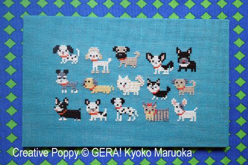 15 petits chiens - Série 1, grille de broderie, création GERA! Kyoko Maruoka