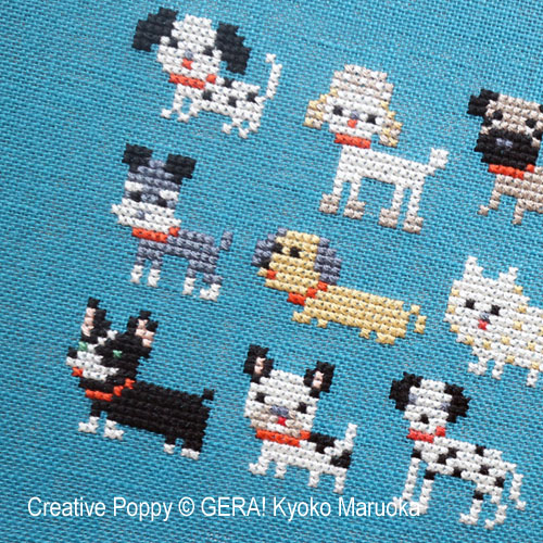 15 petits chiens - Série 1, grille de broderie, création GERA! Kyoo Maruoka