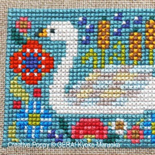 Petits motifs à fleurs N°1 broderie point de croix, création GERA! Kyoko Maruoka, zoom1